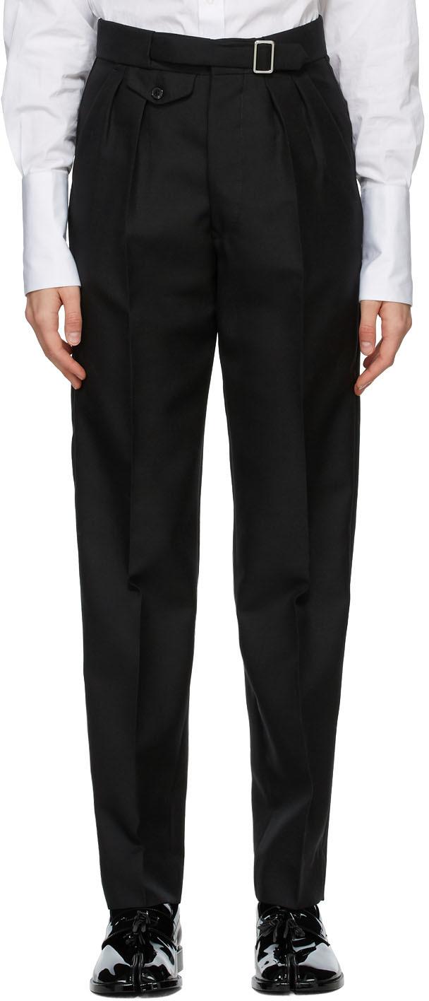 Maison Margiela 黑色褶裥长裤