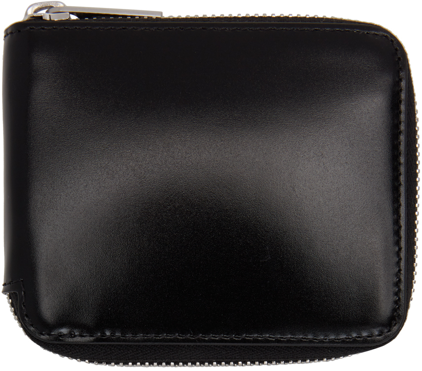 Maison Margiela 黑色抛光环绕式拉链钱包