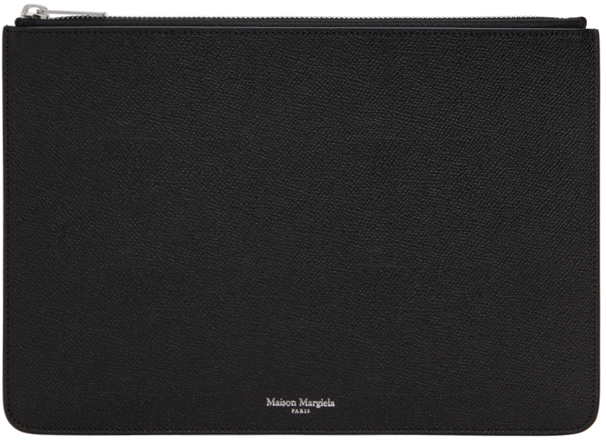 Black Grained Leather Pouch