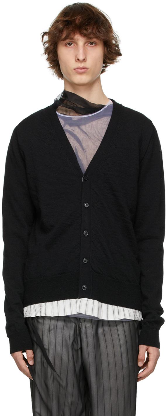 Black Wool Lining Cardigan