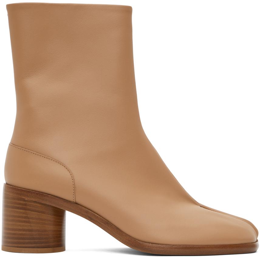 Beige Mid Heel Tabi Boots