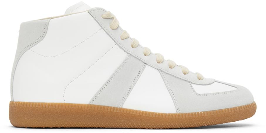 White & Grey Replica High-Top Sneakers