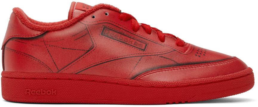 Red Reebok Edition Trompe L'œil Club C Sneakers