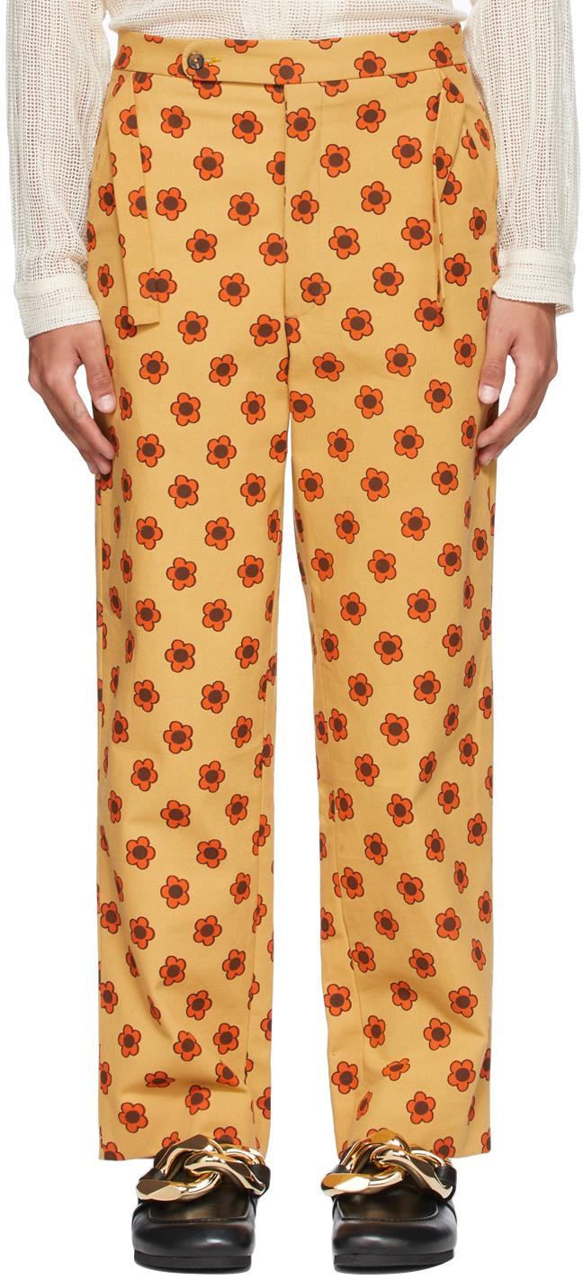 Beige & Orange Daisy Trousers
