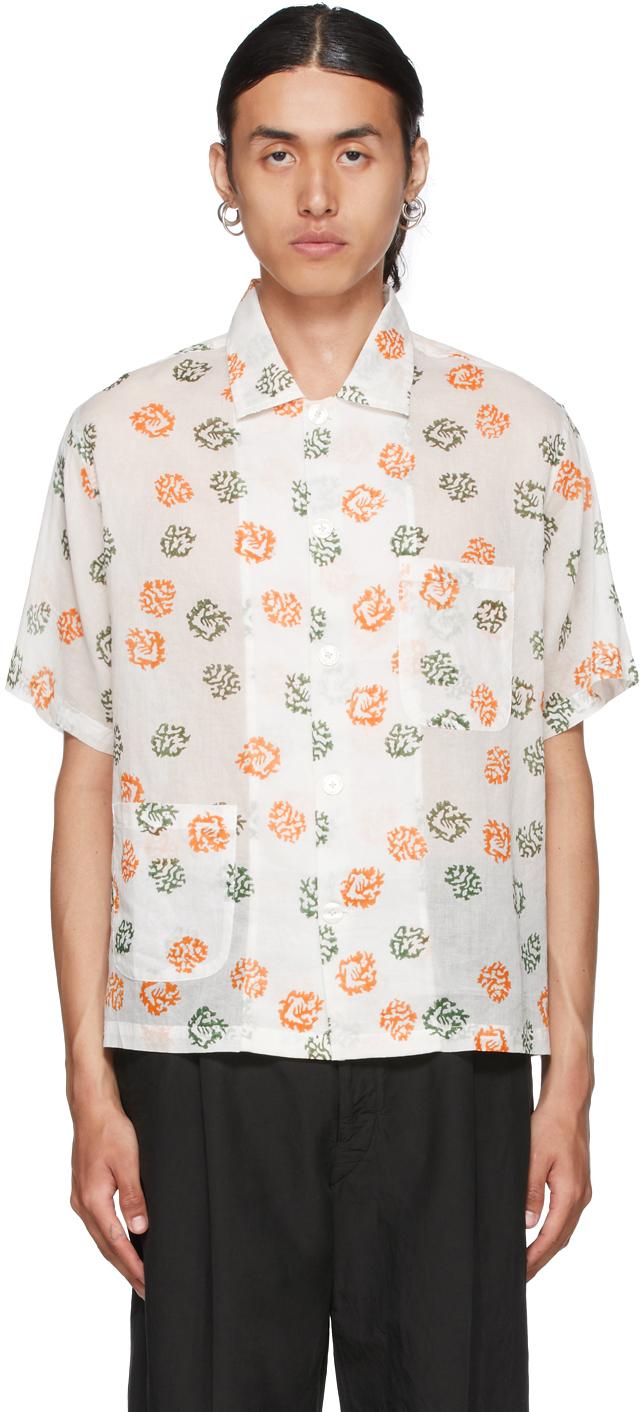 Off-White Sheer Foliage Short Sleeve Shirt