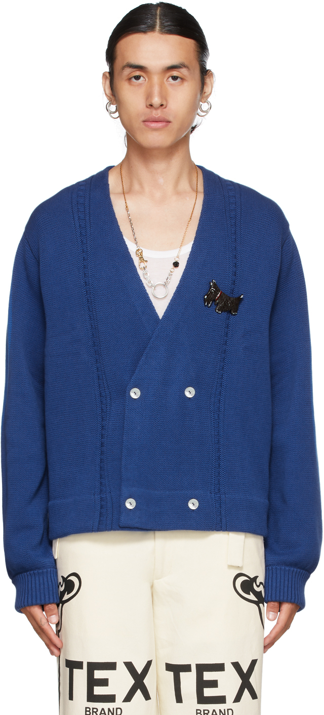 Blue Double-Breasted Cardigan