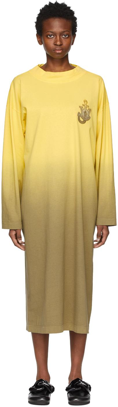 1 Moncler JW Anderson Yellow Degrade Dip Dye Dress