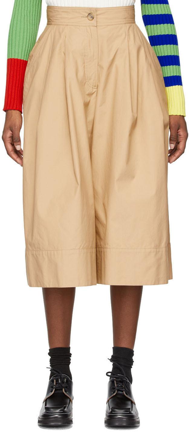 1 Moncler JW Anderson Khaki Military Double Pleat Shorts