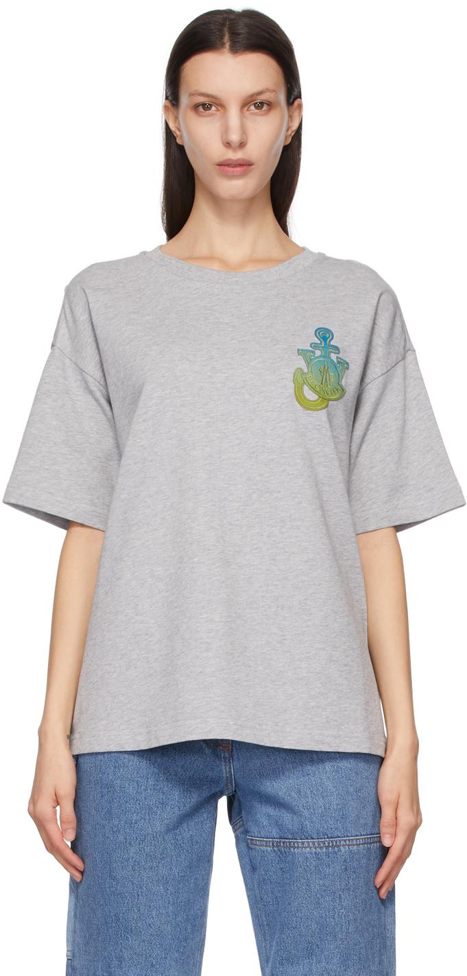 1 Moncler JW Anderson Grey Boxy Logo T-Shirt