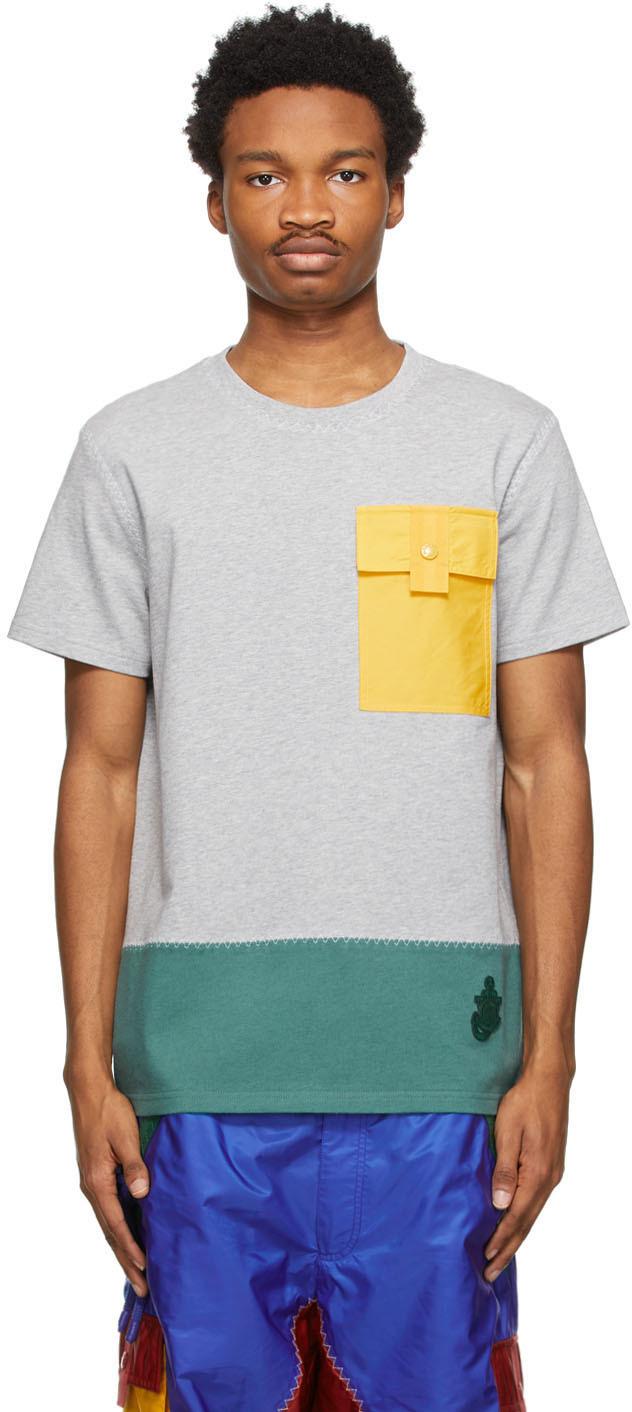 1 Moncler JW Anderson Grey Paneled T-Shirt