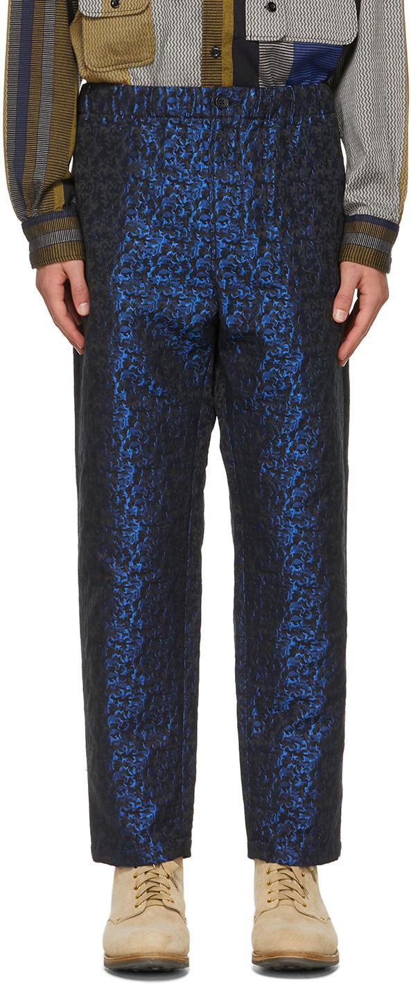Black & Blue Jacquard Shiny Drawstring Trousers