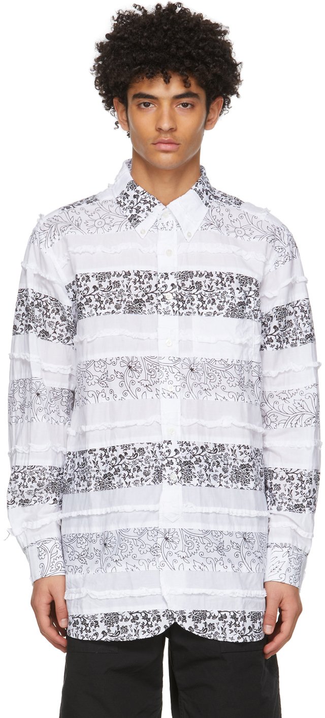 White Floral Patchwork 19th Century BD Shirt