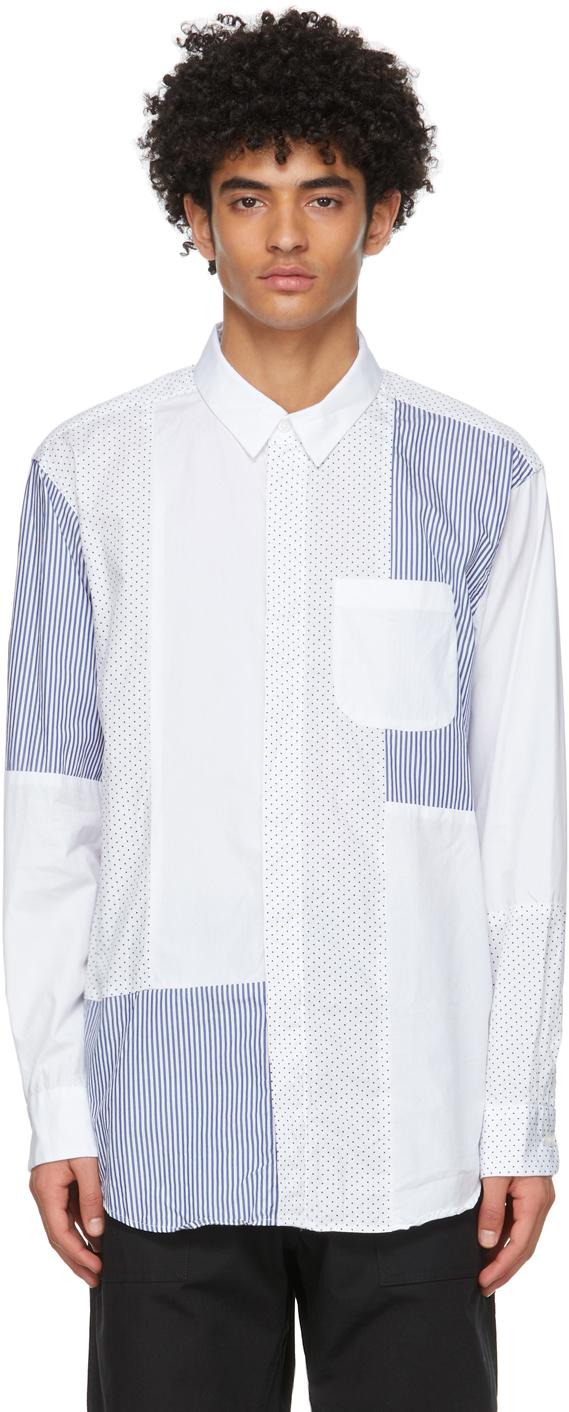 White Polka Dot & Stripe Combo Collar Shirt