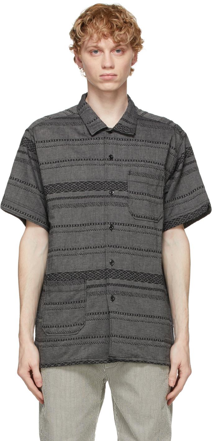 Grey Striped Camp Shirt