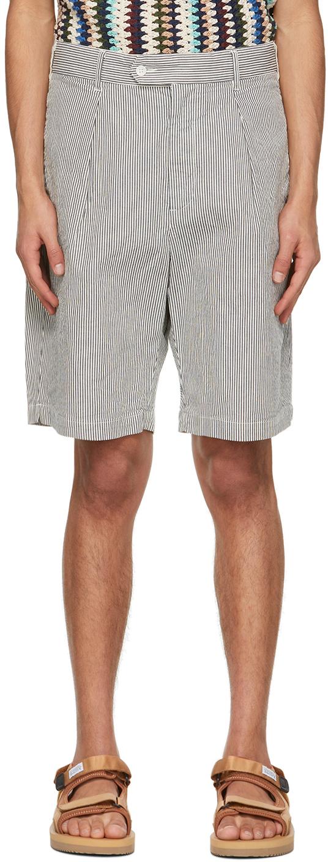 Navy & White Seersucker Stripe Sunset Shorts
