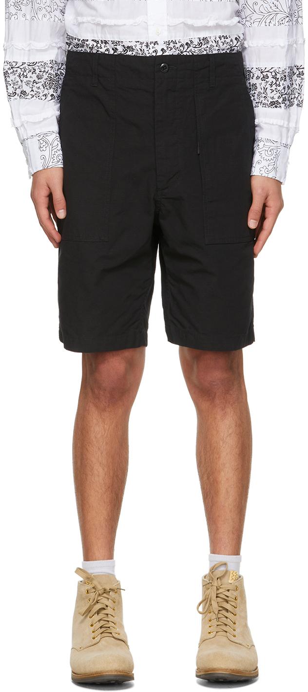 Black Ripstop Fatigue Shorts