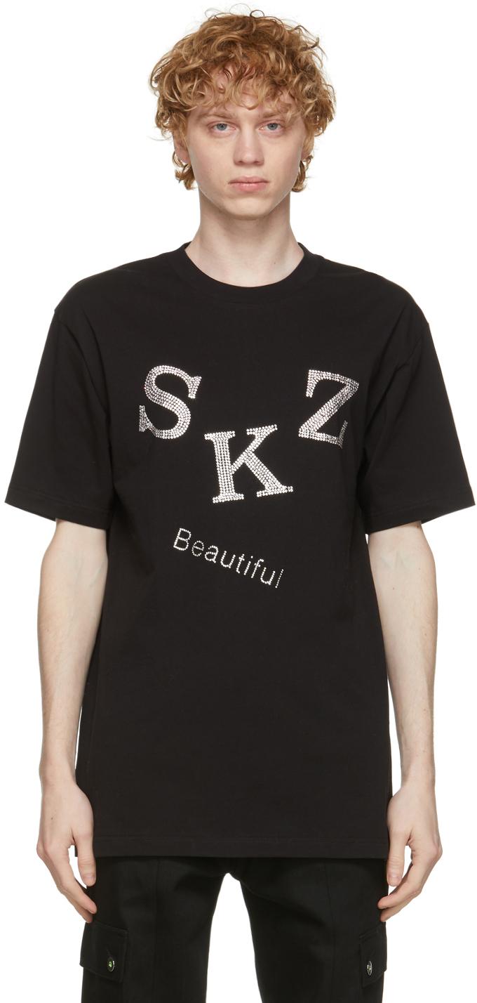 Sankuanz 黑色 Rhinestone T 恤