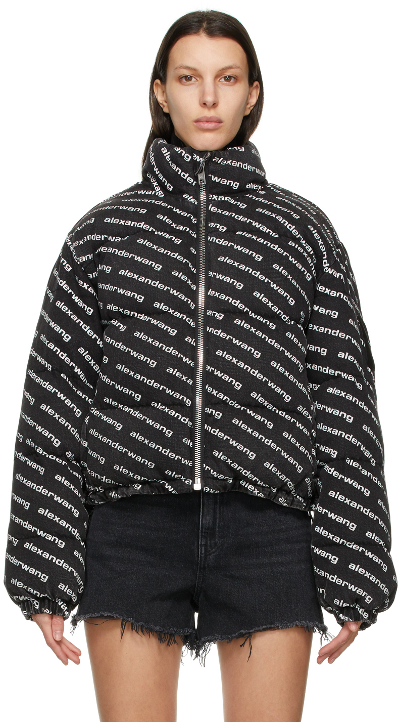 Alexander Wang Grey Denim Logo Puffer Jacket