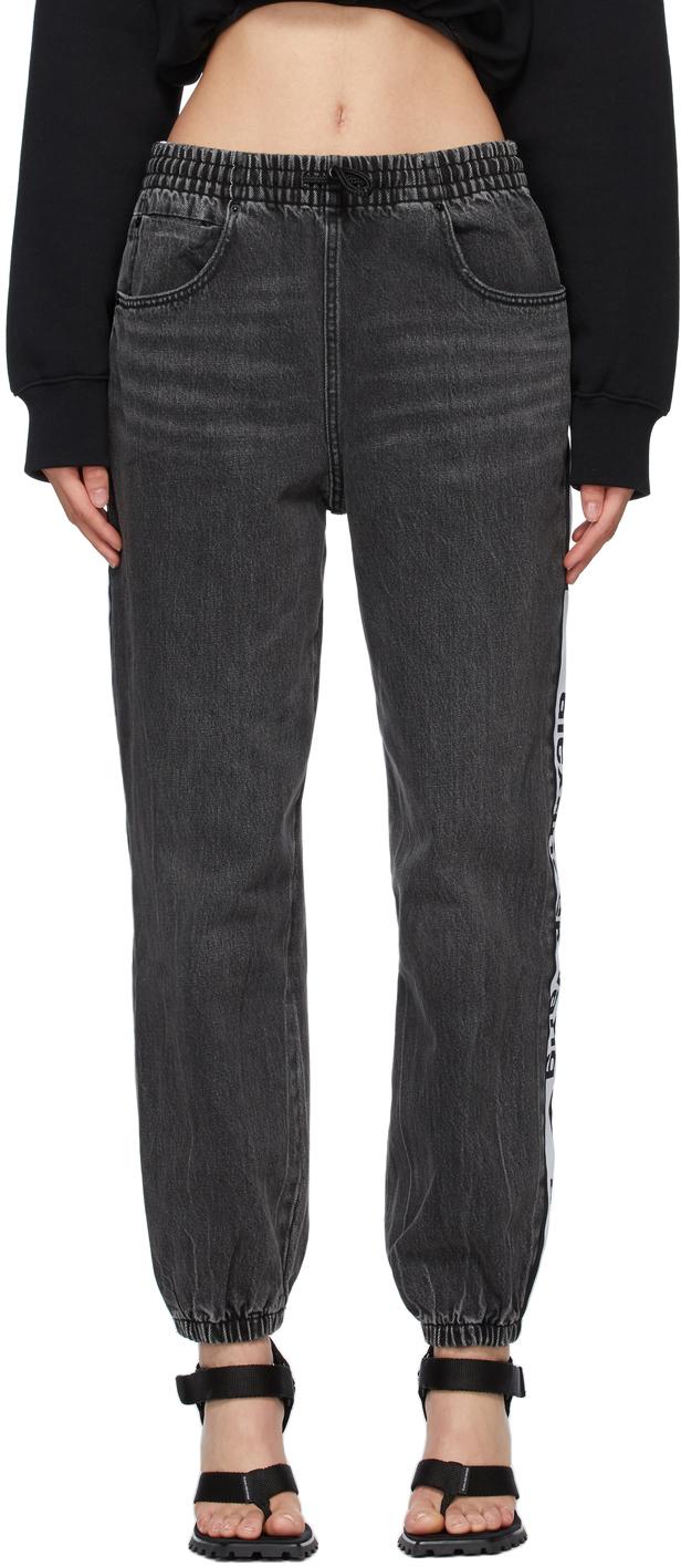 Alexander Wang Grey Logo Tape Jogger Jeans