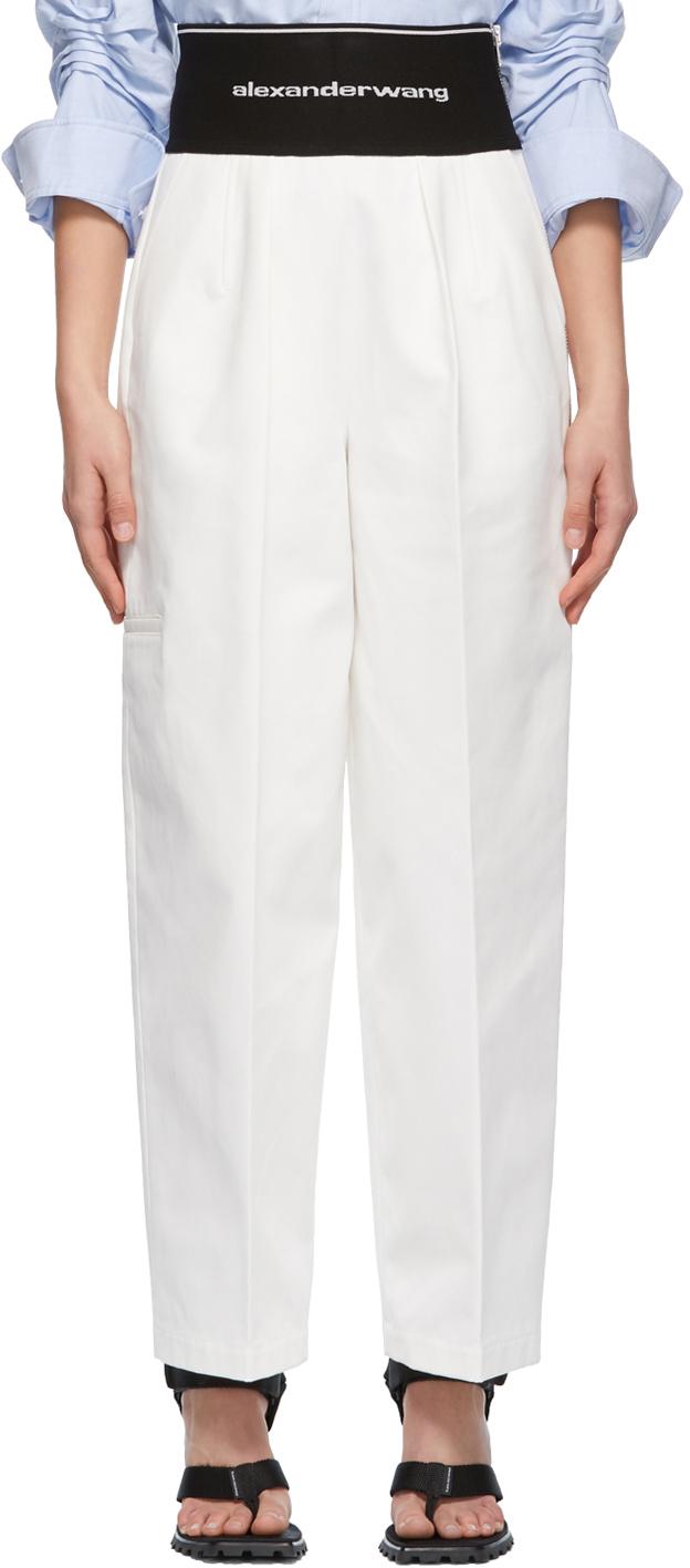 Alexander Wang White Logo Elastic Carrot Trousers