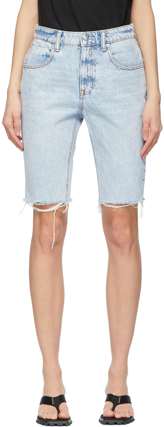Alexander Wang Blue Denim Bike Shorts