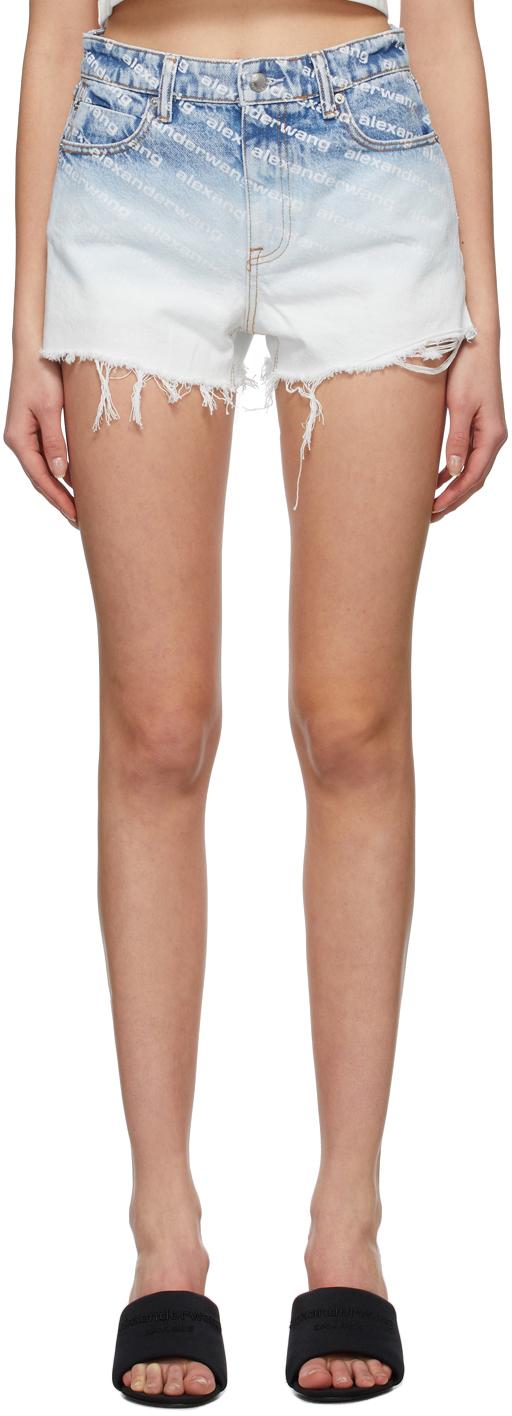 Alexander Wang Blue Denim Bite Logo Shorts