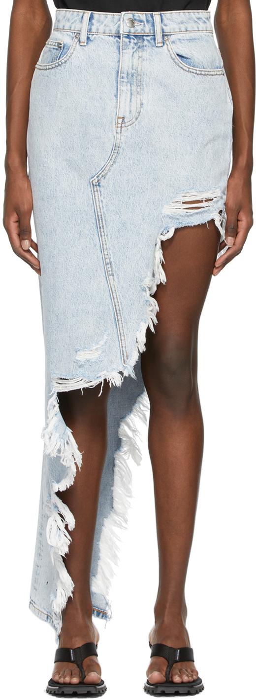 Alexander Wang Blue Denim Asymmetric Frayed Skirt