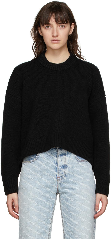 Alexander Wang Black Drape Back Sweater