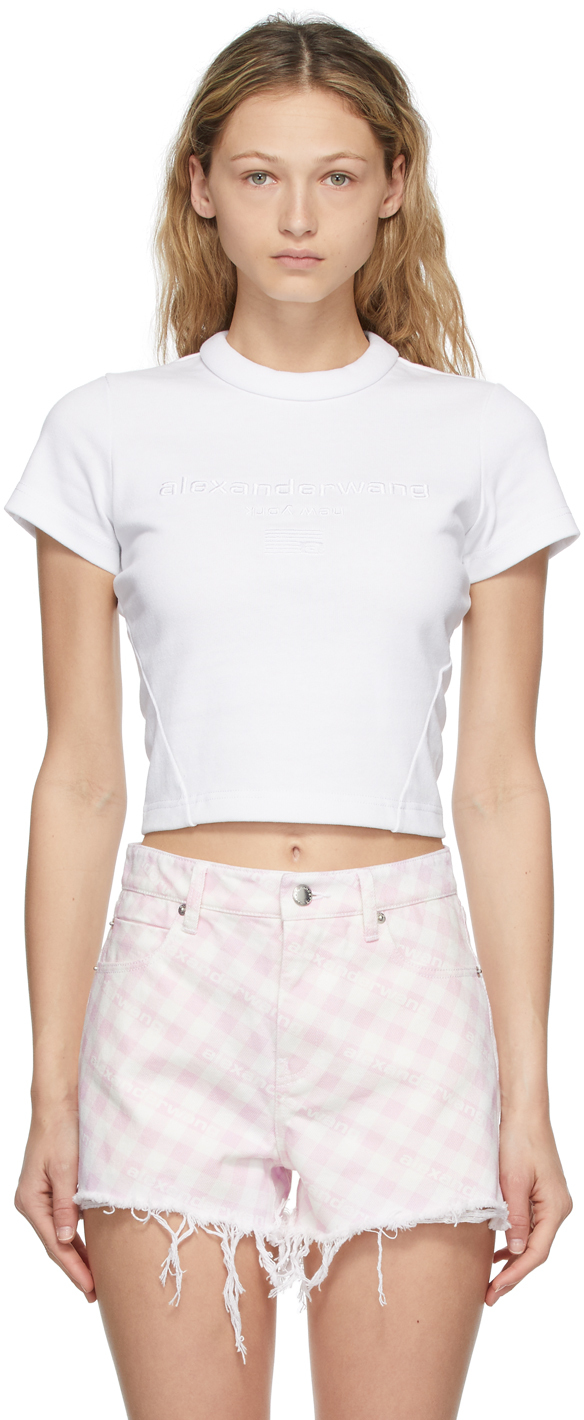 Alexander Wang White Embroidered Scuba T-Shirt