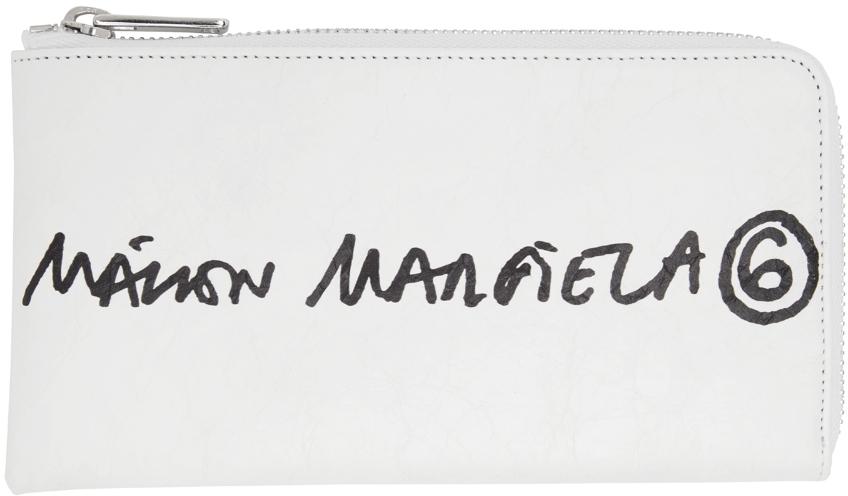 MM6 Maison Margiela フェイクレザー ロゴ ジップ ウォレット