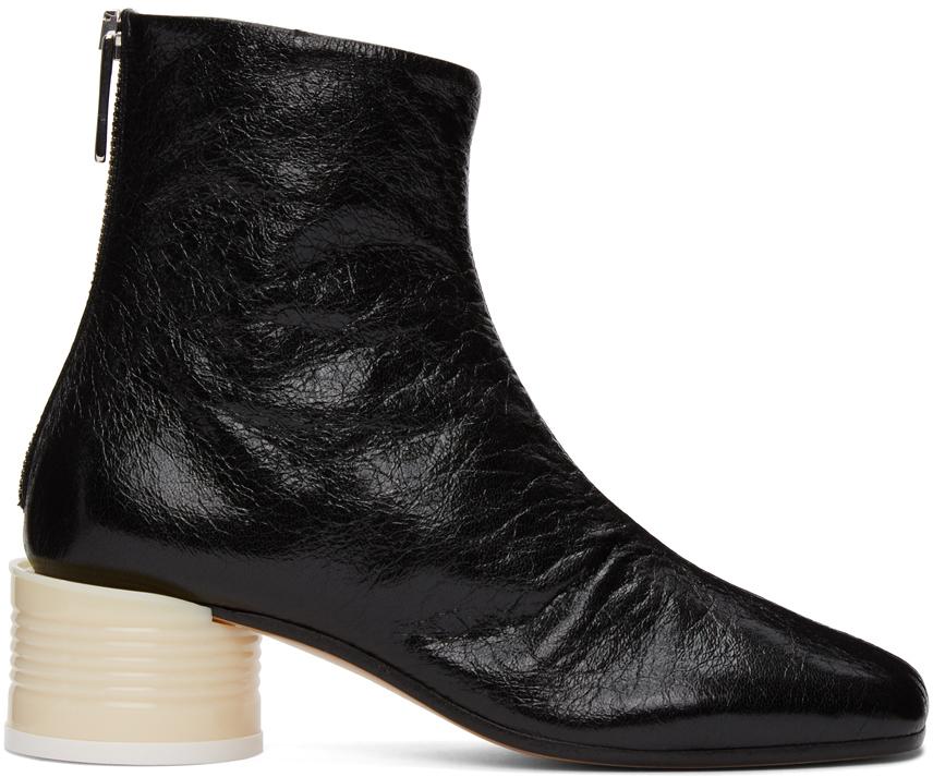 MM6 Maison Margiela 黑色圆形鞋跟踝靴