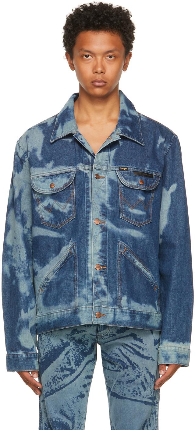 Blue Wrangler Edition Denim Scrunched Print Jacket