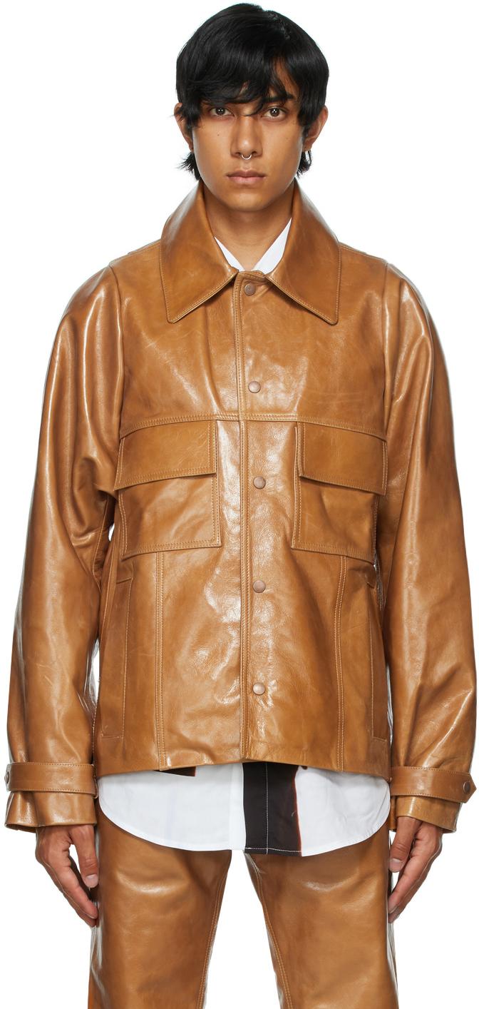 Tan Leather Barlon Jacket