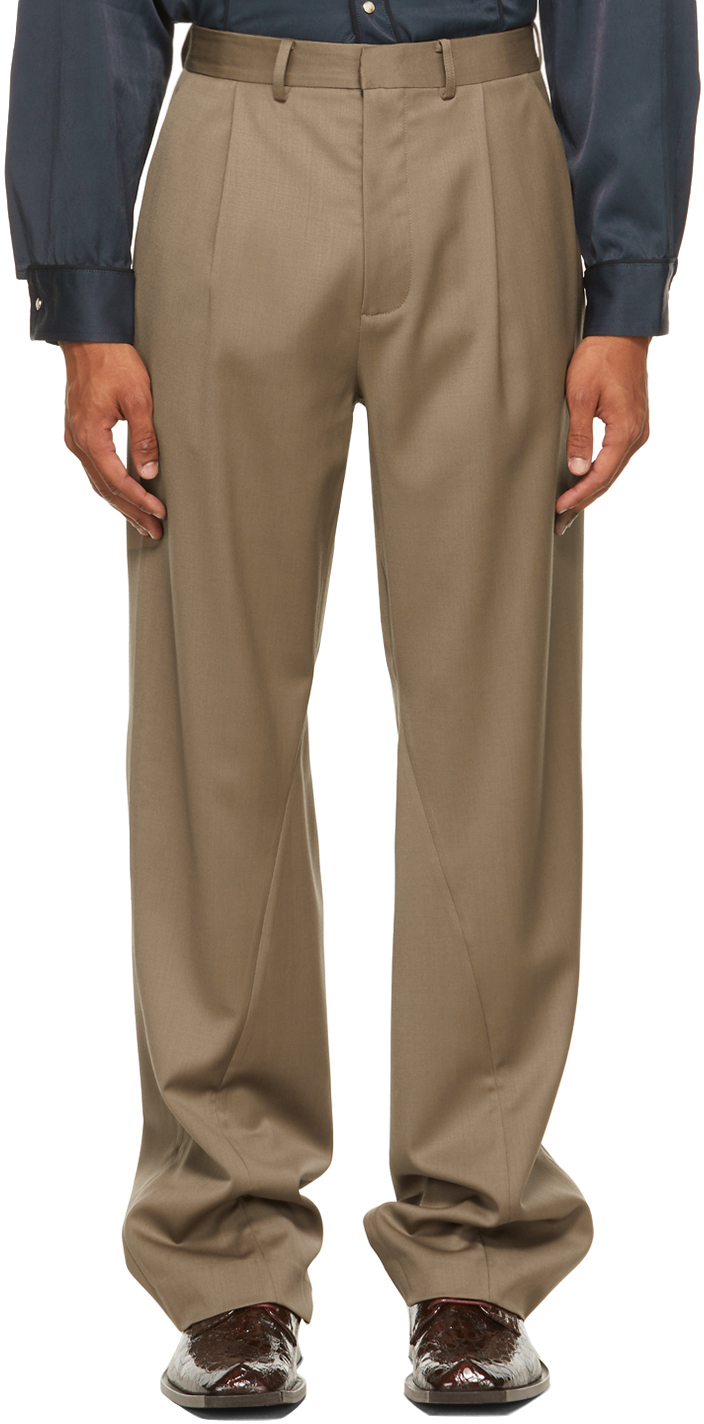 Brown Twisted Tailored Trousers
