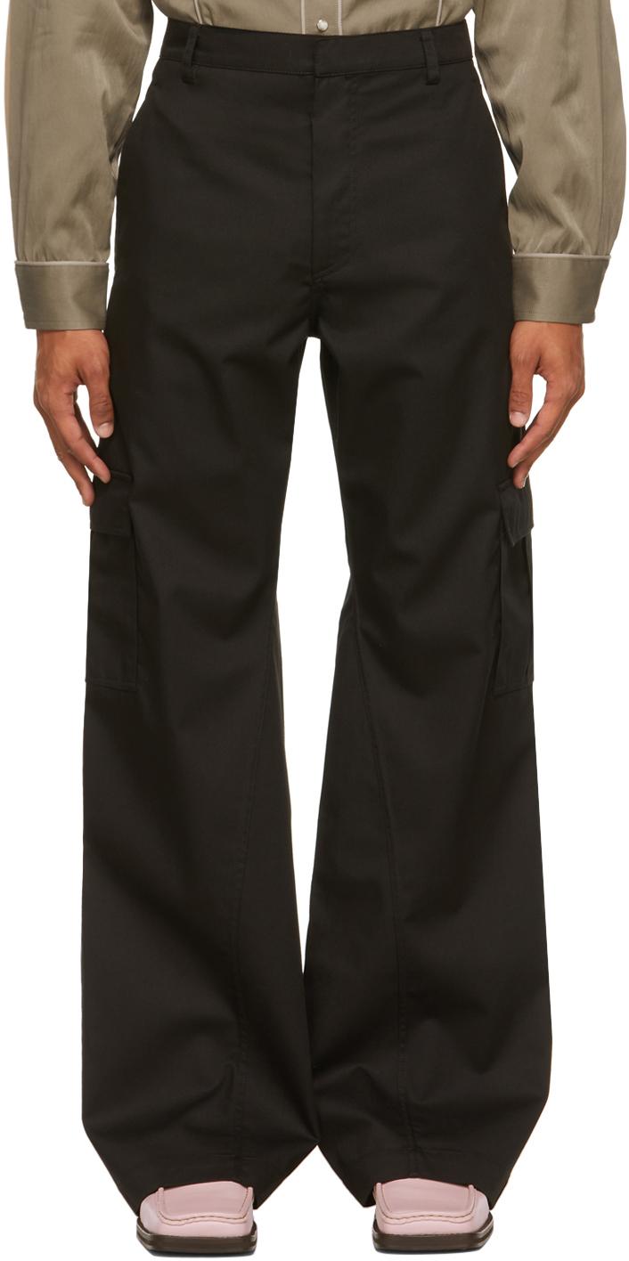 Black Cargo Flap Trousers