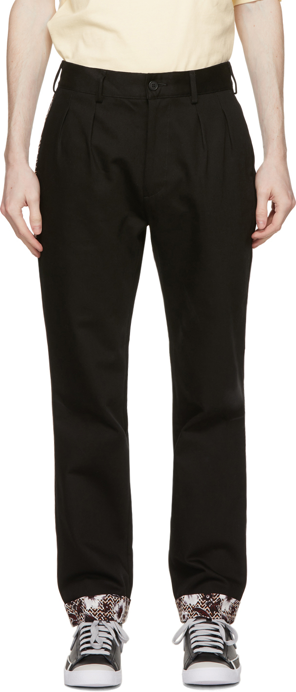 Black Roll-Up Chino Trousers