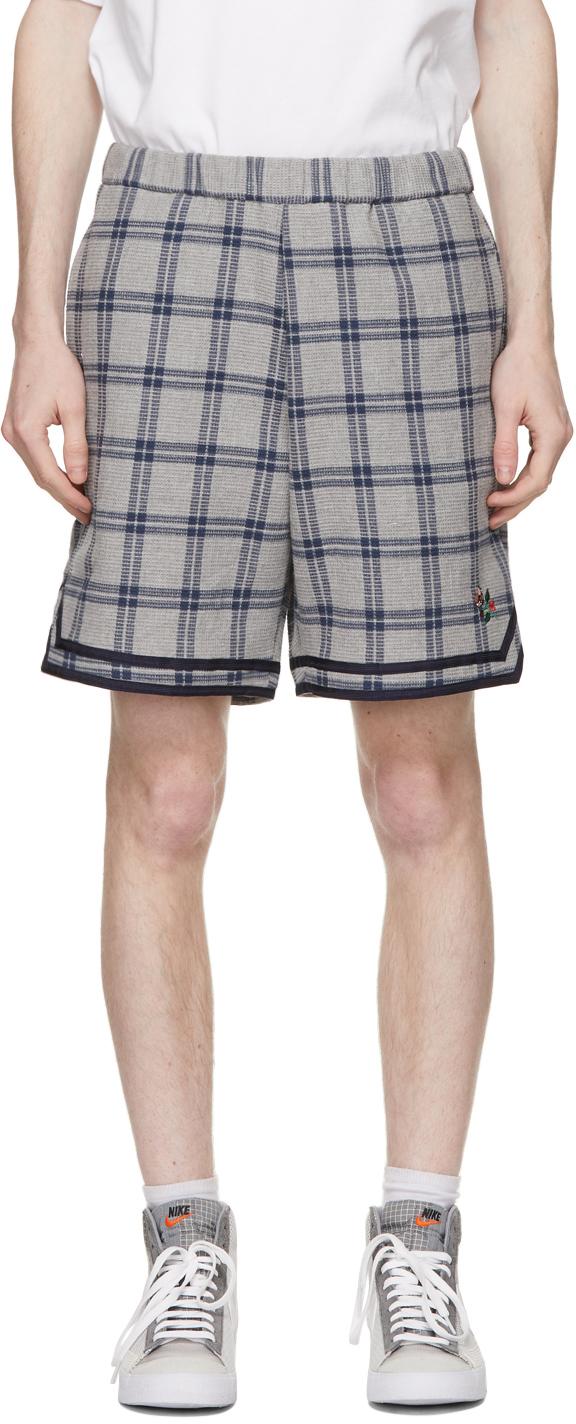 Grey & Navy Check Basketball Shorts