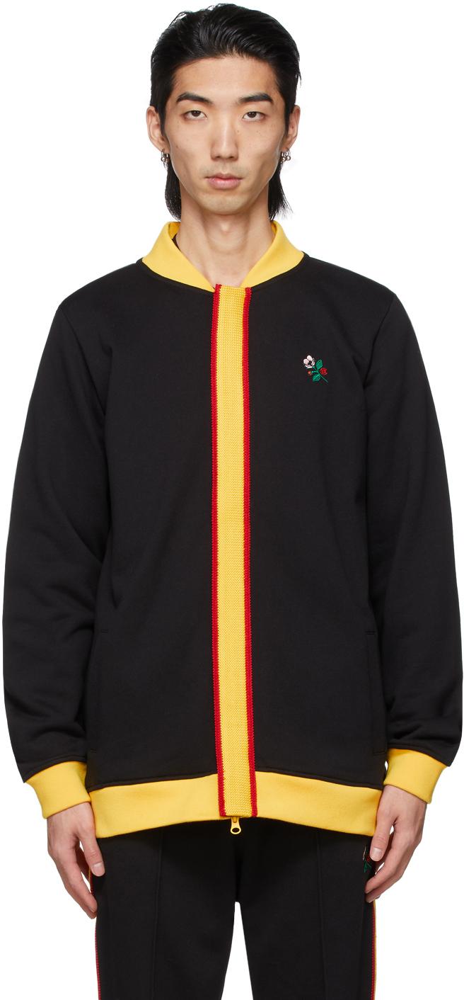 Black Track Top Zip-Up Sweater