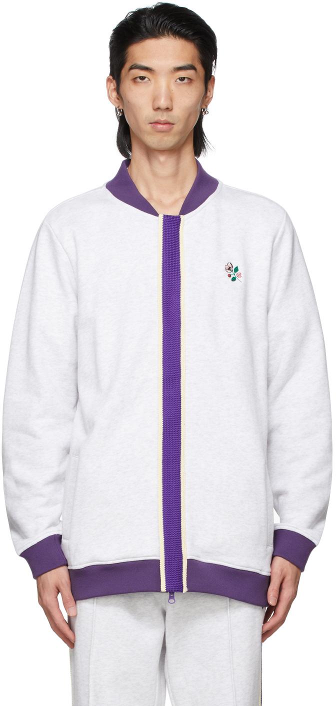 Grey Track Top Zip-Up Sweater