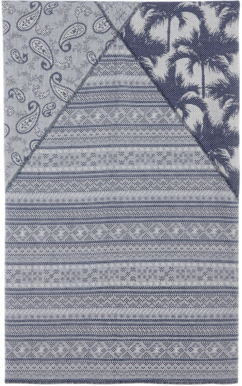 Blue Mixed Graphic Print Beach Towel