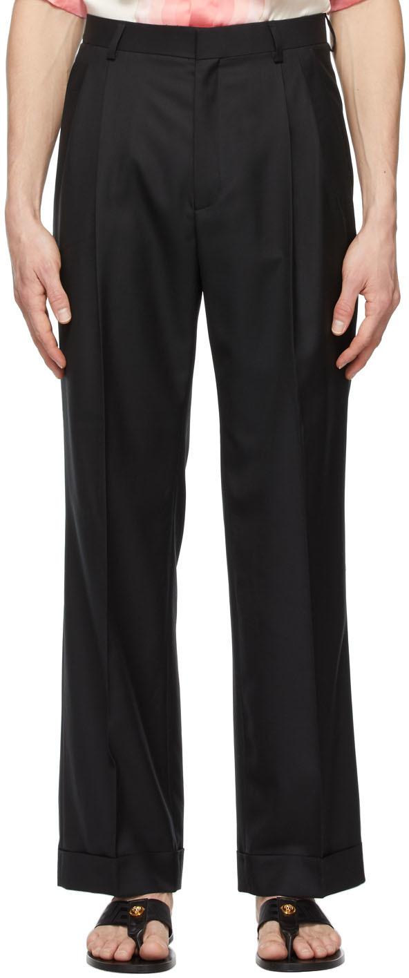Casablanca 黑色 Rio 褶裥羊毛长裤