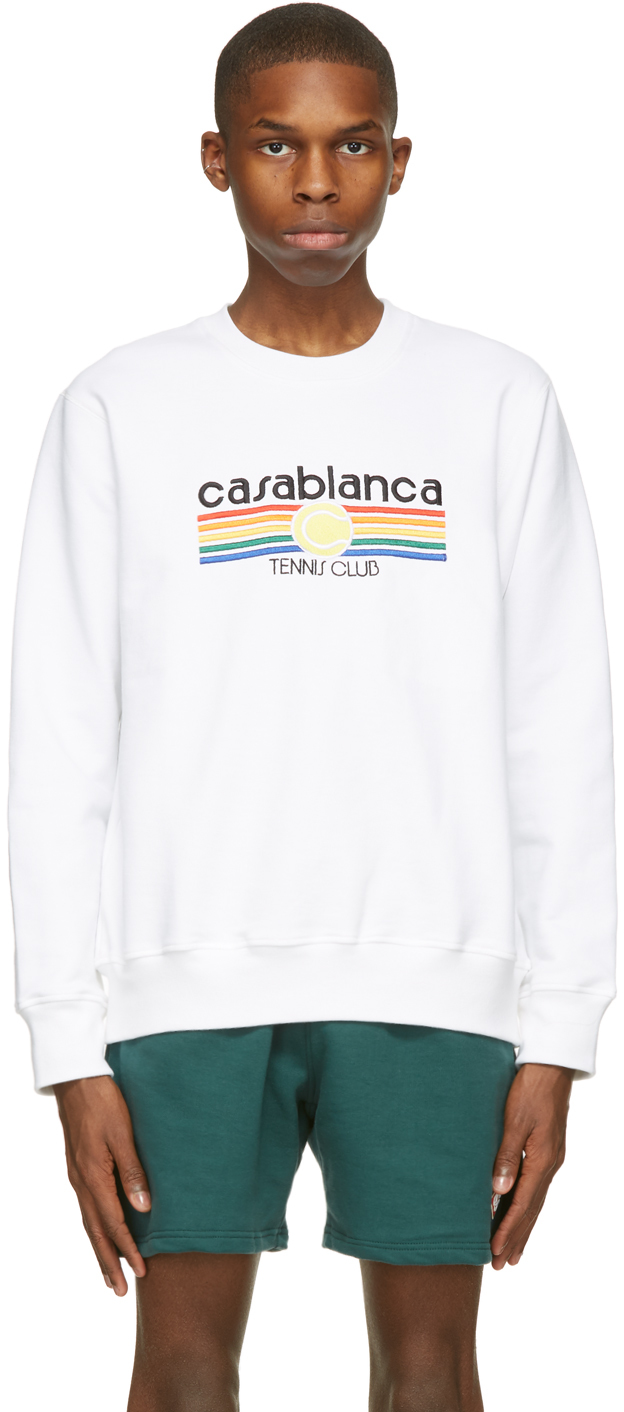 White Tennis Stripe Sweatshirt