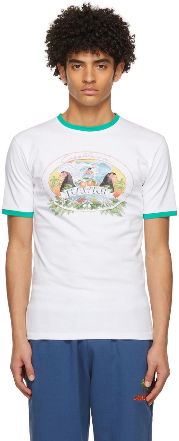 White Hawaii Printed Ringer T-Shirt