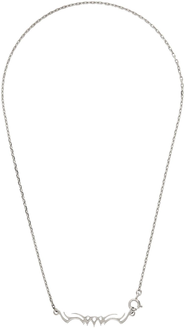 Alan Crocetti Silver Graphic Necklace In Rhodium