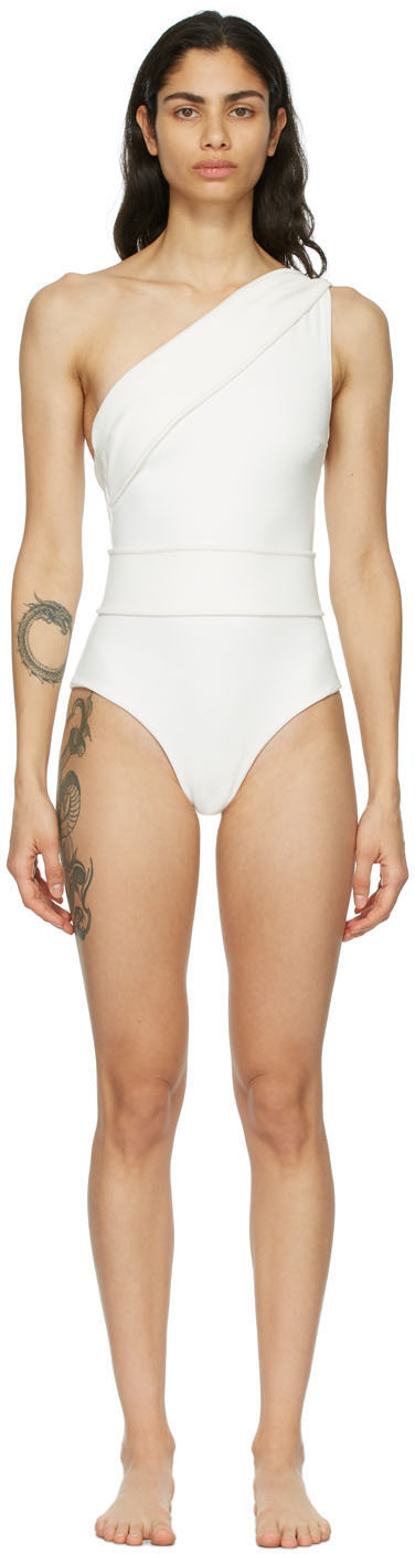 Off-White Crepe Maria One-Piece Swimsuit