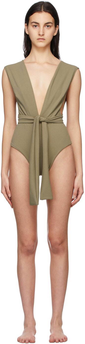 Haight Green Crepe V One-Piece Swimsuit