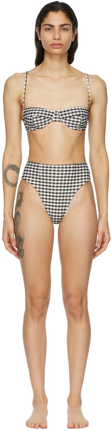 Off-White & Black Vintage High-Leg Bikini