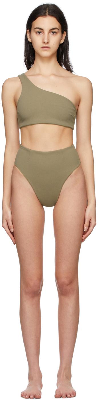 Green Crepe Perlin & Highleg Bikini