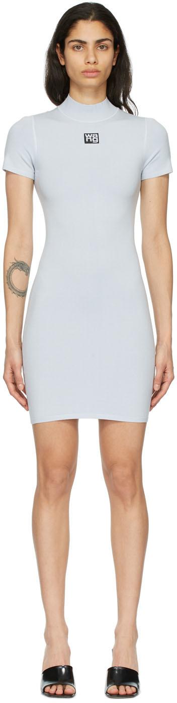 Blue Logo Patch Bodycon Dress