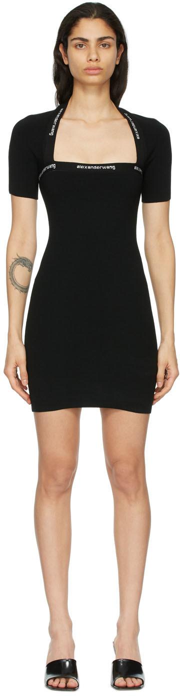 Black Logo Trim Bodycon Dress
